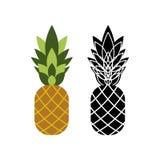 Twee ananassenpictogrammen in kleur en zwart-witte versies Royalty-vrije Stock Fotografie