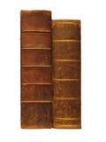 Twee antieke boeken, die op wit worden geïsoleerdn Stock Foto