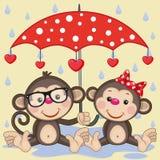 Twee Apen met paraplu royalty-vrije illustratie