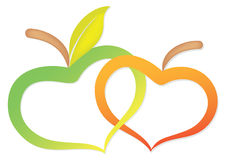 Twee appelen toe te schrijven aan hart Royalty-vrije Stock Afbeeldingen