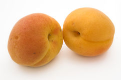 Twee apricotes Royalty-vrije Stock Afbeeldingen