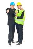 Twee architectenmensen die duimen geven Stock Afbeelding