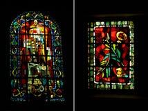 Twee Art Deco-stijlgebrandschilderd glas, Montmarte, Parijs Stock Fotografie