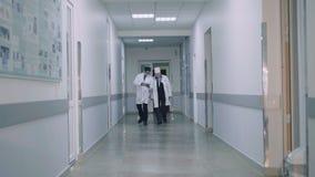 Twee artsen die bij het ziekenhuis ` s gang en het adviseren lopen 4K stock video
