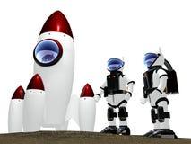 Twee astronauten aan nieuwe werelden royalty-vrije illustratie