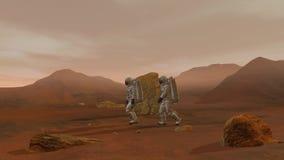 Twee Astronauten die Ruimtepak dragen die op de Oppervlakte van Mars lopen Het onderzoeken van Opdracht aan Mars royalty-vrije illustratie