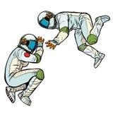 Twee astronauten in nul ernst royalty-vrije illustratie
