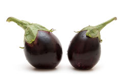 Twee aubergines Stock Foto's