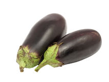 Twee aubergines. Geïsoleerdt. Stock Foto's