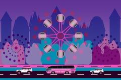 Twee auto's, bus en ferriswiel op stadsachtergrond vector illustratie