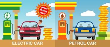 Twee auto's die door benzine en elektriciteit worden bijgetankt stock foto's