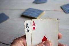 Twee azen die combinatie winnen Royalty-vrije Stock Foto