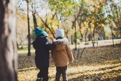Twee babyjongen het spelen in de herfstpark, looppas en sprong Royalty-vrije Stock Afbeeldingen