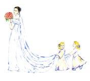 Twee babymeisjes die de witte lange kleding van het treinbruidsmeisje dragen Royalty-vrije Stock Foto's