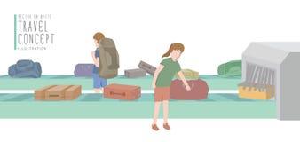 Twee backpackers krijgen bagage van vlakke vecto van de bagagecarrousel Stock Afbeeldingen