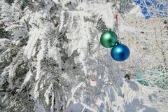 Twee ballen op tak stock afbeeldingen