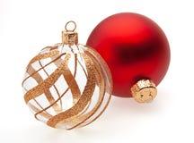 Twee Ballen van Kerstmis royalty-vrije stock fotografie
