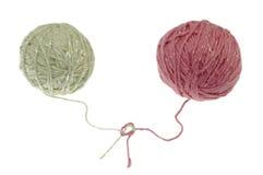 Twee ballen van wol Stock Foto's