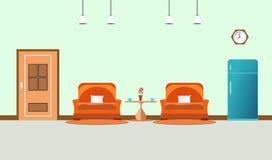 Twee banksinaasappel in woonkamerbinnenland met koffiekop op lijst en kabinets blauwe ijskast klok in muur vlakke desi als achter stock illustratie