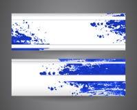 Twee banners met blauwe abstracte nevelverf Verfrommelde document achtergrond Stock Fotografie