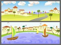 Twee banners met zeegezichten royalty-vrije illustratie