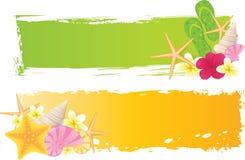 Twee banners met de zomerelementen Stock Afbeelding