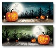 Twee Banners van Vakantiehalloween met Pompoenen Stock Afbeeldingen