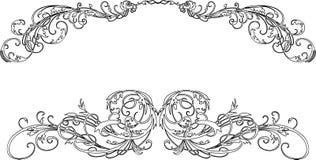 Twee Barokke Krommen van de Kalligrafie Royalty-vrije Stock Foto