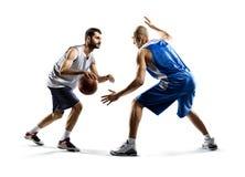 Twee basketbalspelers in actie Stock Foto's
