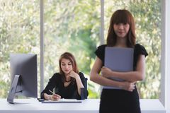 Twee bedrijfsdames in bureau royalty-vrije stock afbeelding