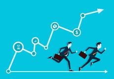 Twee bedrijfsmens concurrerend in zaken op grafiek Stock Fotografie