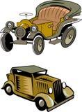 Twee beeldverhaal retro auto's Stock Afbeeldingen