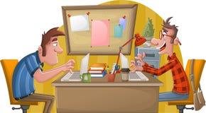 Twee beeldverhaalmensen die met computer werken Bureauwerkruimte met bureaus royalty-vrije illustratie