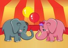 Twee beeldverhaalolifanten Royalty-vrije Stock Afbeelding