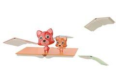Twee beeldverhaalvos die zich op de vliegende boeken, 3D illustratie bevinden Royalty-vrije Stock Foto's