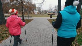 Twee bejaarden die op stokken van het noordse lopen op een stoep lopen stock videobeelden