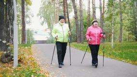 Twee bejaarden doen het Skandinavische lopen in het park De herfst stock videobeelden