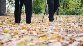 Twee bejaarden doen het Skandinavische lopen in het park voeten Zonsondergang in het Park stock footage