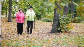 Twee bejaarden in jasjes doen het Skandinavische lopen in het park stock videobeelden