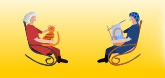 Twee bejaarden in schommelstoelen royalty-vrije illustratie