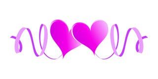 Twee bekoorde harten met linten Royalty-vrije Stock Afbeeldingen