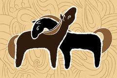 Twee bekoorde paarden Stock Afbeeldingen