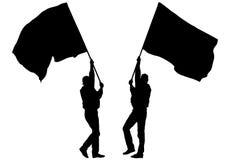 Twee bemannen whit vlag Stock Foto
