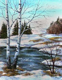 Twee berken bij de rivier, de lente royalty-vrije illustratie