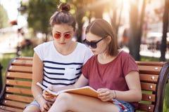 Twee beste vrienden of klasgenoten treffen voor definitieve examens voorbereidingen bij universiteit, dragen in zonnebrilt-shirt, stock foto