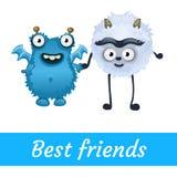 Twee beste vrienden, witte en blauwe mutant Toon vector illustratie