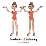 Twee bevallige atleten van het gesynchroniseerde zwemmen in rood zwempak Stock Foto's