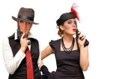Twee bewapende mooie meisjes Royalty-vrije Stock Foto's