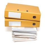 Twee bindmiddelen en documenten Stock Foto's