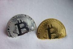 Twee bitcoins Stock Foto